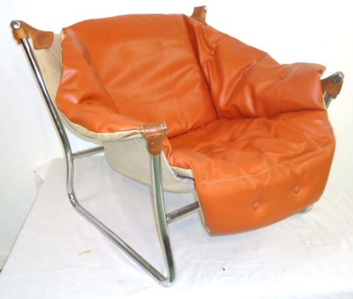 25: Leather & Chrome Sling Chair