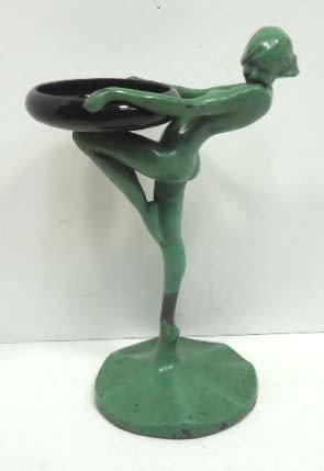 123A: Frankart Figural Tray w/ Black Glass Dish