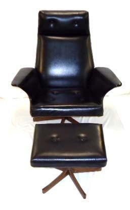 6A: Kodawood Black Arm Chair & Foot Stool