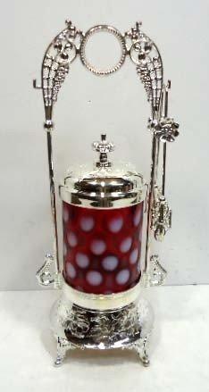 145: Cranberry/Opalescent Coin Spot Pickle Castor