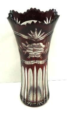 148: Ruby Cut To Clear Bohem. Vase