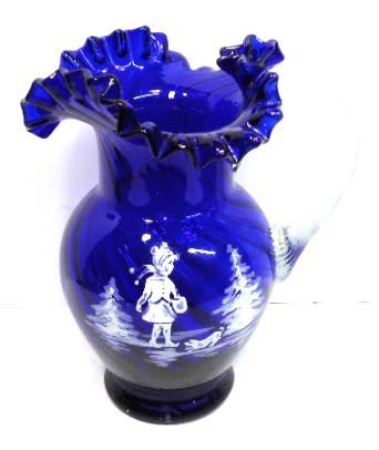 149: Cobalt Mary Gregory Pitcher W/ App. Handle