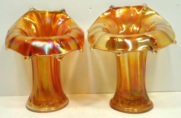 6: Pr. Carnival Glass Vases