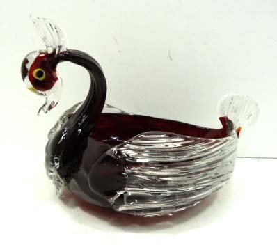 22: Ruby Art Glass Swan Dish