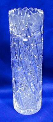 52: American Brilliant Cut Glass Cylinder Vase