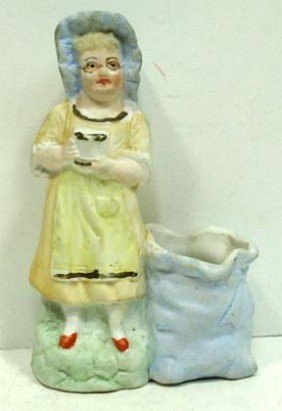 German Bisque Figural Match Holder