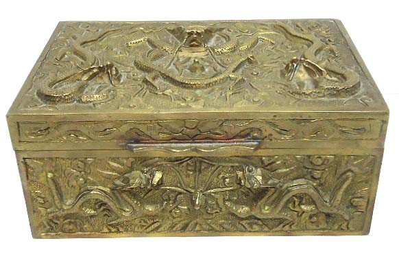 152: Brass Oriental Box w/ Dragons
