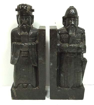 153: Pr. Oriental Carved Stone Bookends