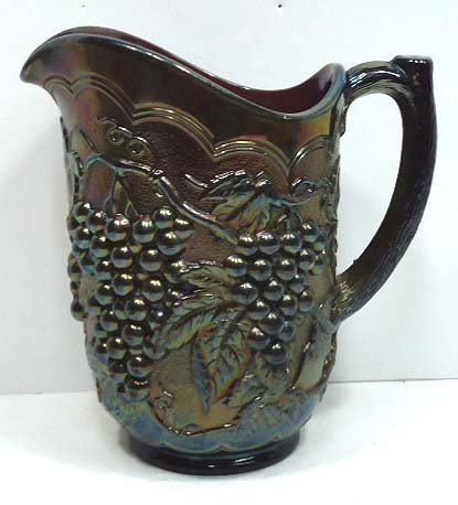 160: Purple Carnival Glass Grape Pitcher