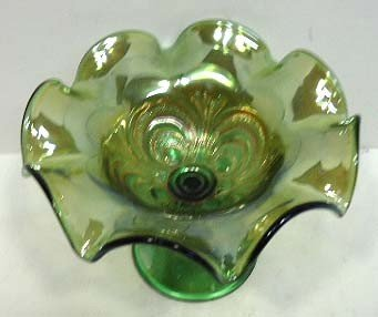 166: Green Carnival Glass Compote