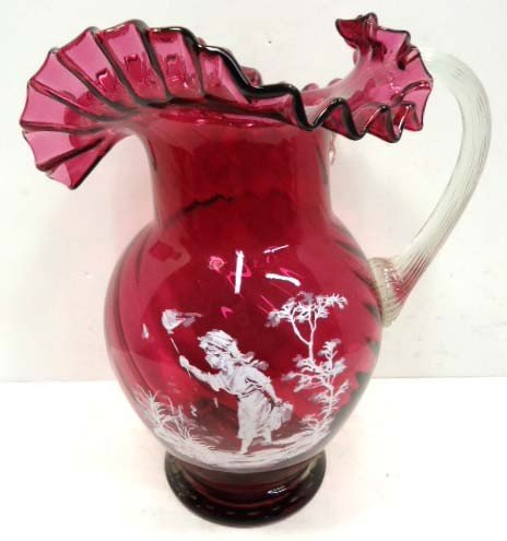 14B: Cranberry Mary Gregory Pitcher