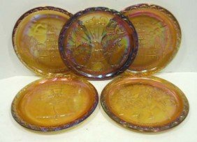 5 Carnival Glass Bi-Cen. Plates
