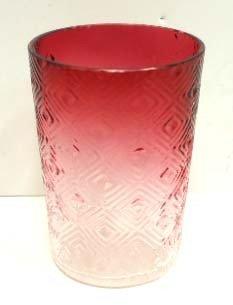 2: Vict. Cranberry Diamond Pattern Tumbler