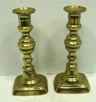 17: C. 1850 Push Up Brass Candlesticks