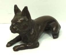 154A: Bronze Dog Paperweight Signed Tiffany