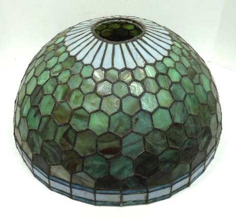 Antique Lamp Shades Glass: 160A: Antique Stained Leaded Glass Lamp Shade,Lighting