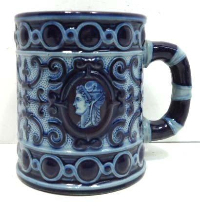 22: Blue Stoneware Mug w/ Portrait