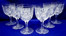 6 Brilliant Cut Glass Goblet