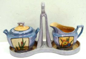 Lusterware Cream & Sugar W/ Tray
