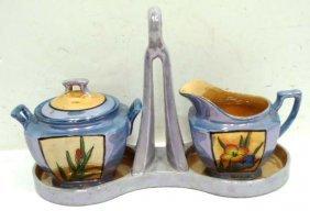 5: Lusterware Cream & Sugar w/ Tray