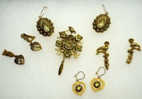 5pc Vintage Damascene Jewelry Lot