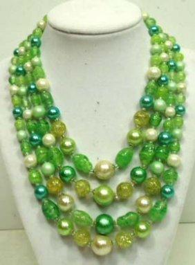 5E: Vintage 4 Strand Art Glass Necklace