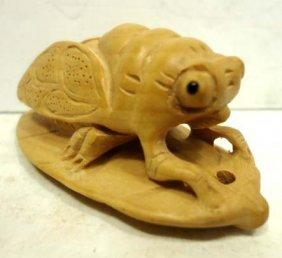 10C: Carved Wood Netsuke Cicada