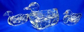 3pc Glass Duck Candy Dish