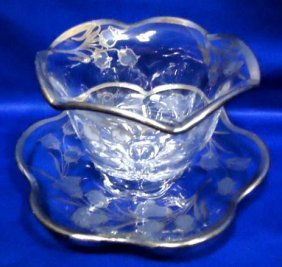 2pc Silver Overlay Bowl & Underplate