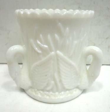 27: Milk Glass Toothpick Holder w/ Swans