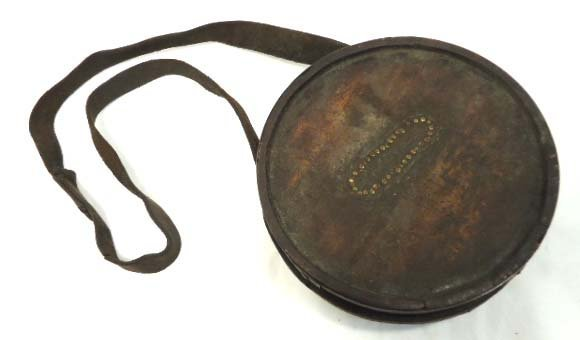 35: Early Wood Canteen w/ Leather Strap
