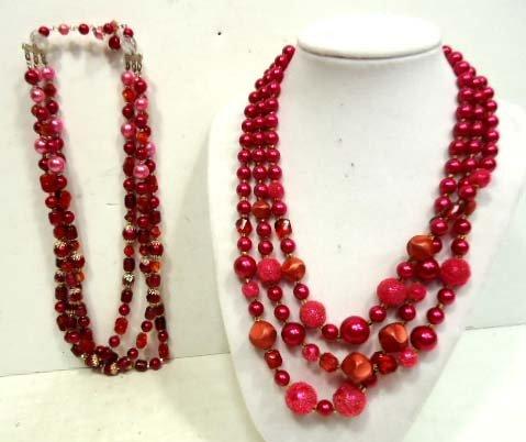 40C: 2pc Vintage Multi Strand Beaded Necklaces