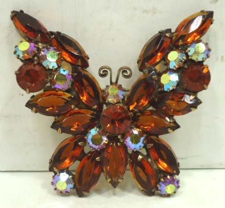 3: Vtg. Weiss Rhinestone Butterfly