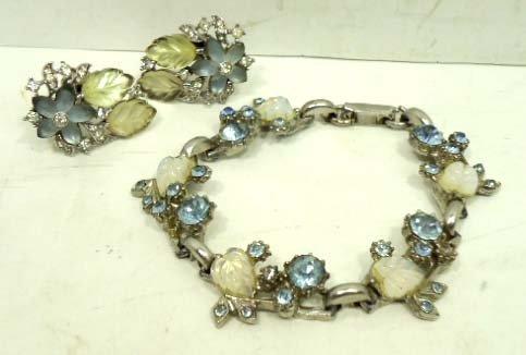 5: Vtg. Crown Trifari Rhine. Earrings & Bracelet