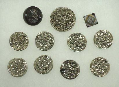 6: 11 Silver Luster Victorian Buttons