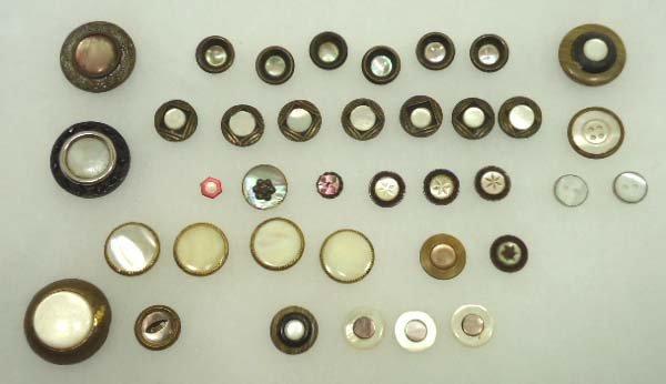 8: 37 Vict. Metal Encased MOP Vtg. Buttons