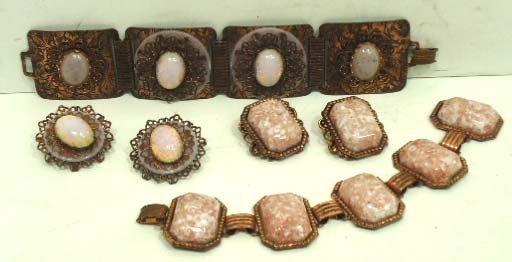 19: 2 Vtg Confetti Lucite, Faux Copper Bracelet & Ear.