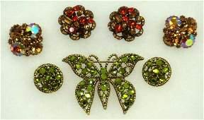 50: Vtg. Weiss Rhinestone 5pc Jewelry Lot