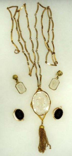 Lucite Vtg Intaglio Necklace Set