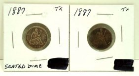(2) 1887 Seated Dimes