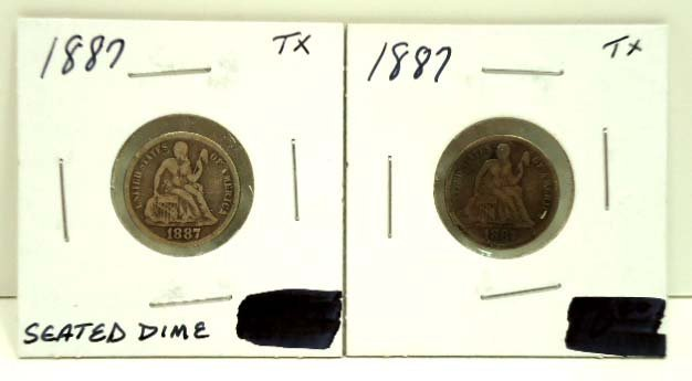 76: (2) 1887 Seated Dimes