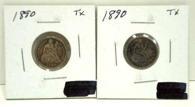 77: (2) 1890 Seated Dimes