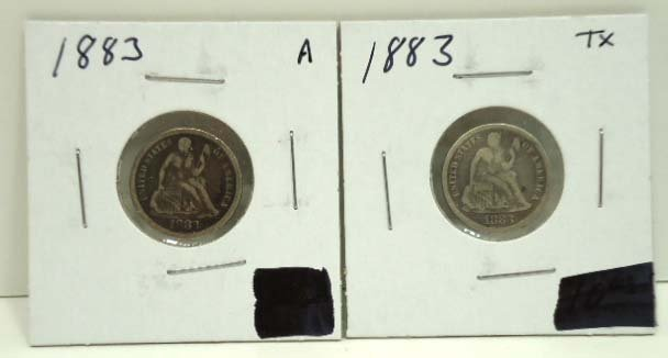 78: (2) 1883 Seated Dimes