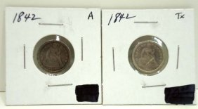 (2) 1842 Seated Dimes