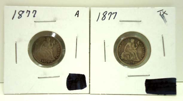 80: (2) 1877 Seated Dimes