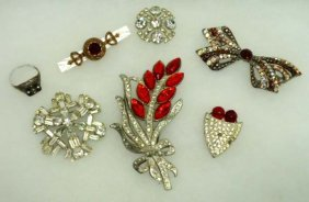 Antique Pave, Rhine, Brooches, Ring