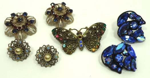 87: Lovely Vtg Rhin. Butterfly & Earring Jew.