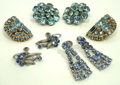 88: Vtg. Kramer, Krementz Ice Blue Earrings