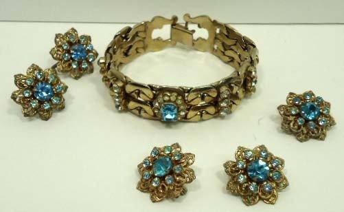 89: Aqua Blue 3pc Rhin. Vtg. Jewelry