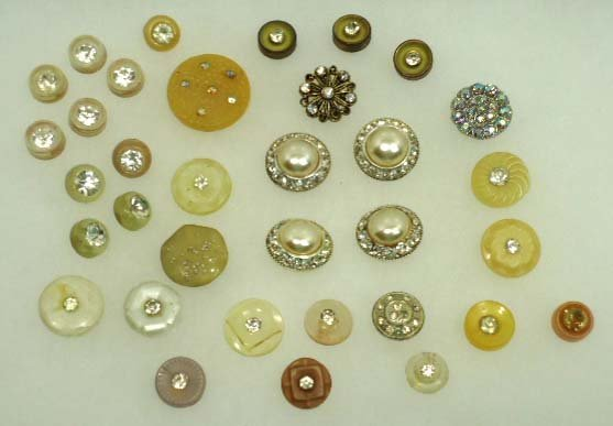 91: 34 Vtg. Rhinestone Buttons